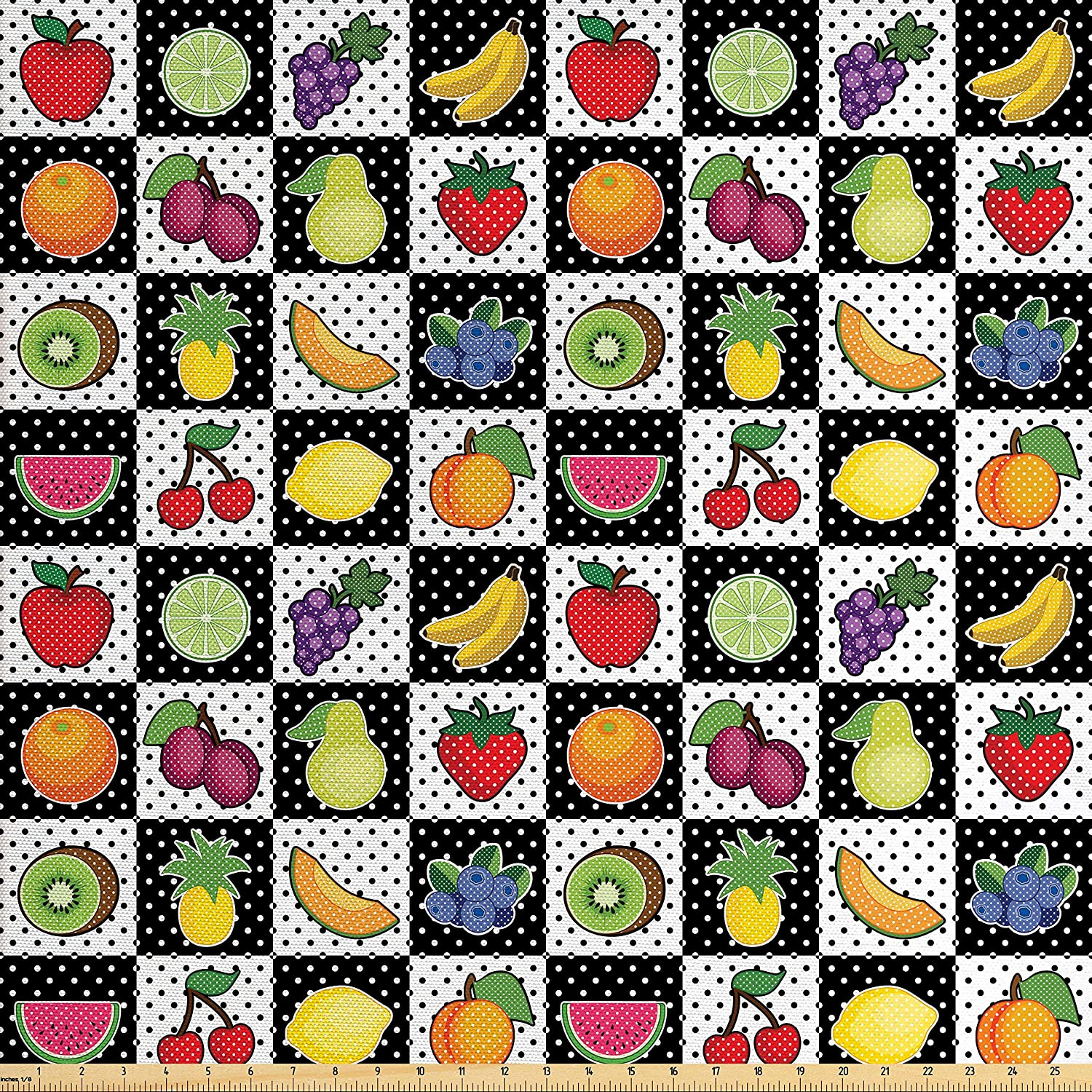Ambesonne Black and White Fabric by The Yard, Kitchen Fruits and Vegetables Nature with Dots Chess Squares Art Design, Decorative Fabric for Upholstery and Home Accents, Multicolor