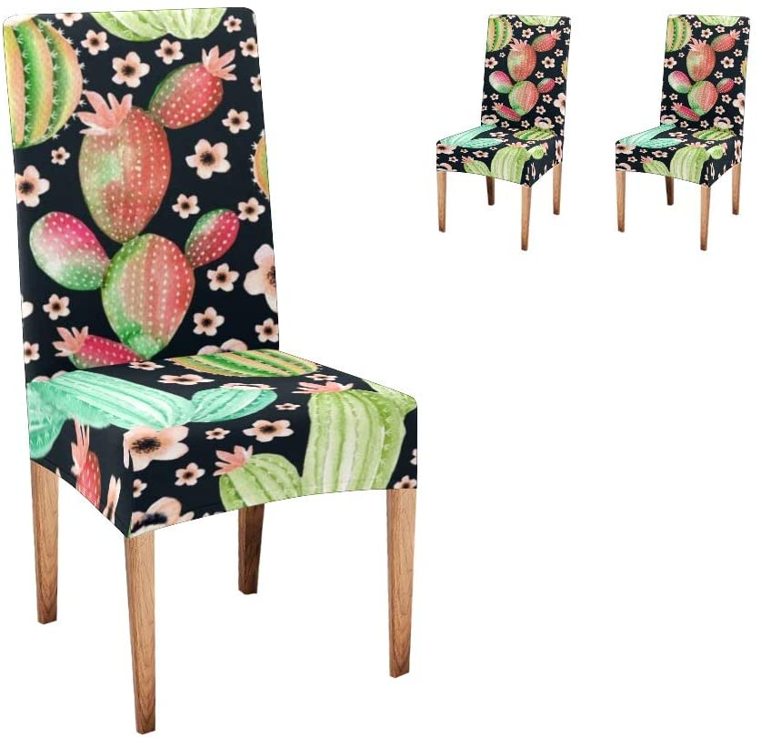 CUXWEOT Chair Covers for Dining Room,Custom Cactus Plant Floral Protector Seat Covers Slipcovers for Party Decor (Set of 2)