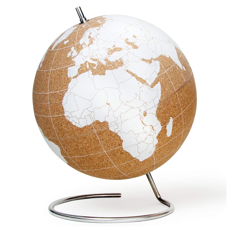 Suck UK Large Desktop Cork Push PINS Included | Educational World MAP | Travel Accessories | Adventure & Memories Display | Globe, White