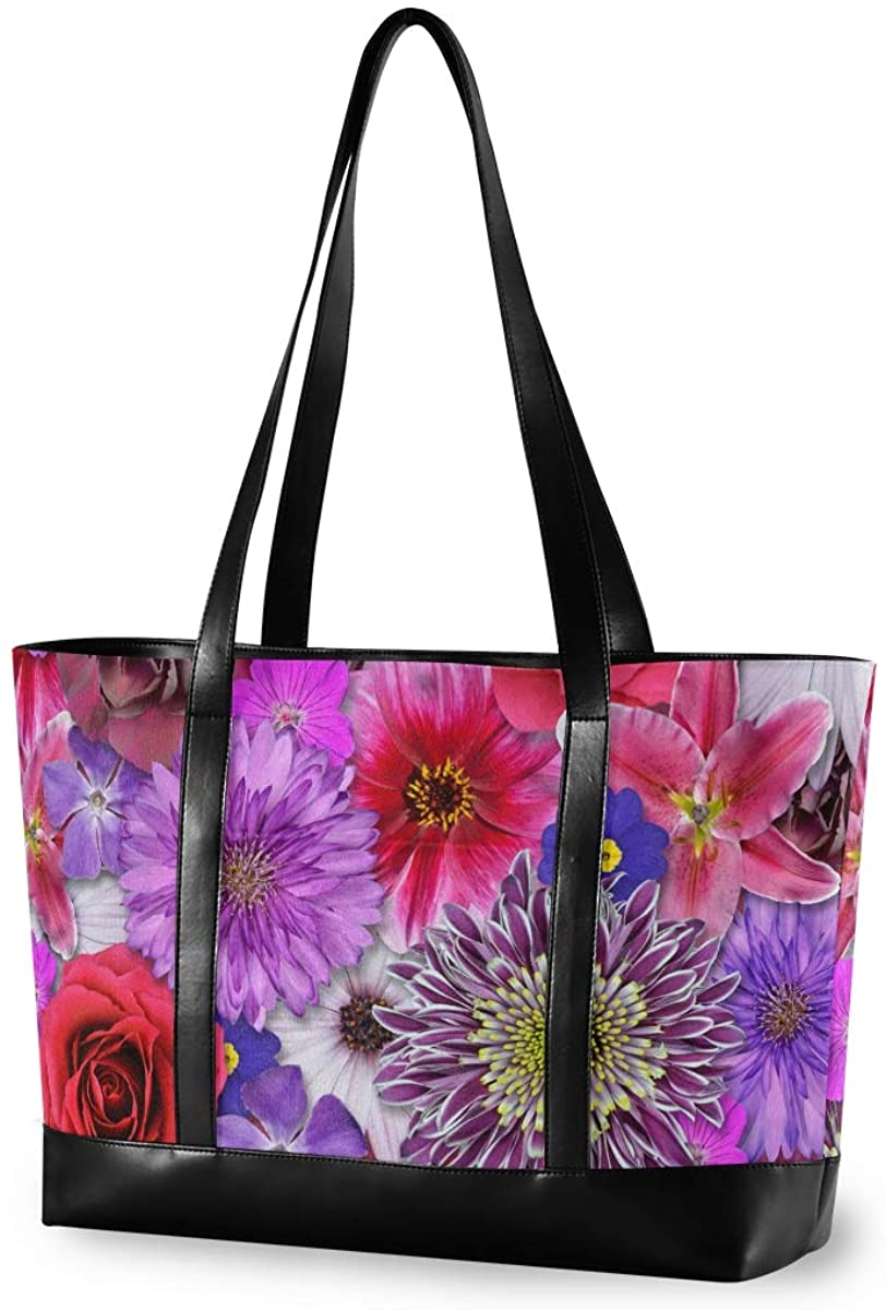 Women's Tote Shoulder Bag Red Pink Purple Flower Capacity Handbag
