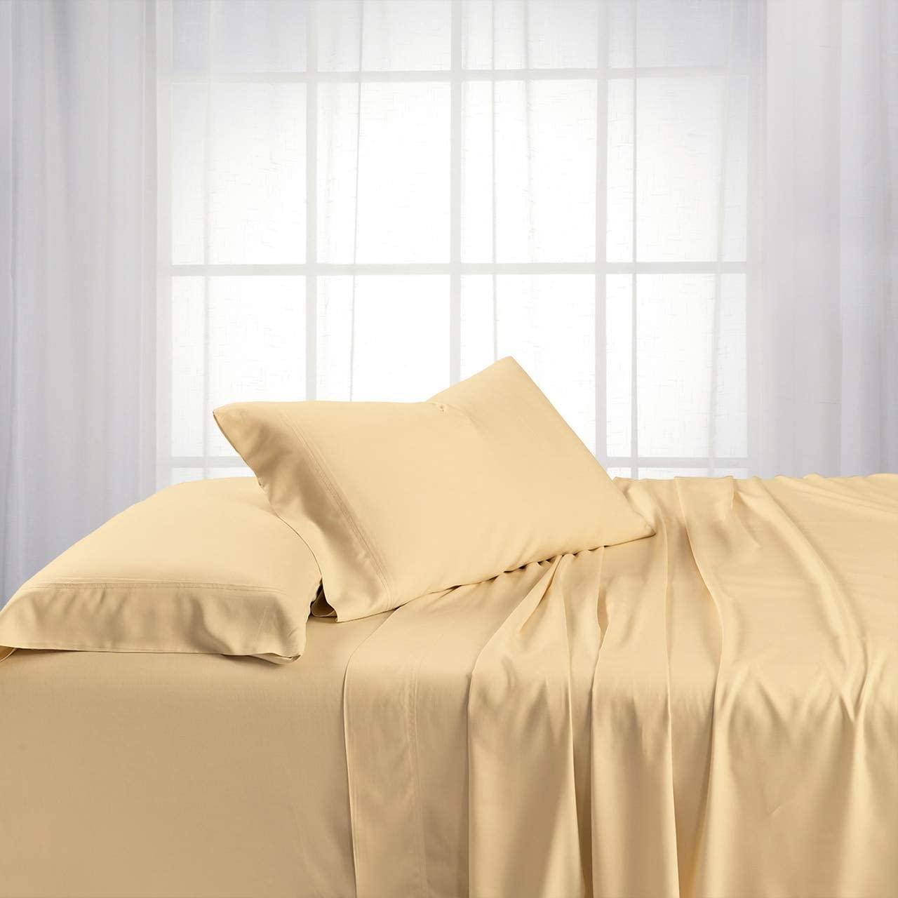 Royal Hotel ABRIPEDIC Bamboo Sheets, 600 Thread Count, Silky Soft Sheets 100% Viscose from Bamboo Sheet Set, Top-Split-King : Adjustable Split Top King, Canvas