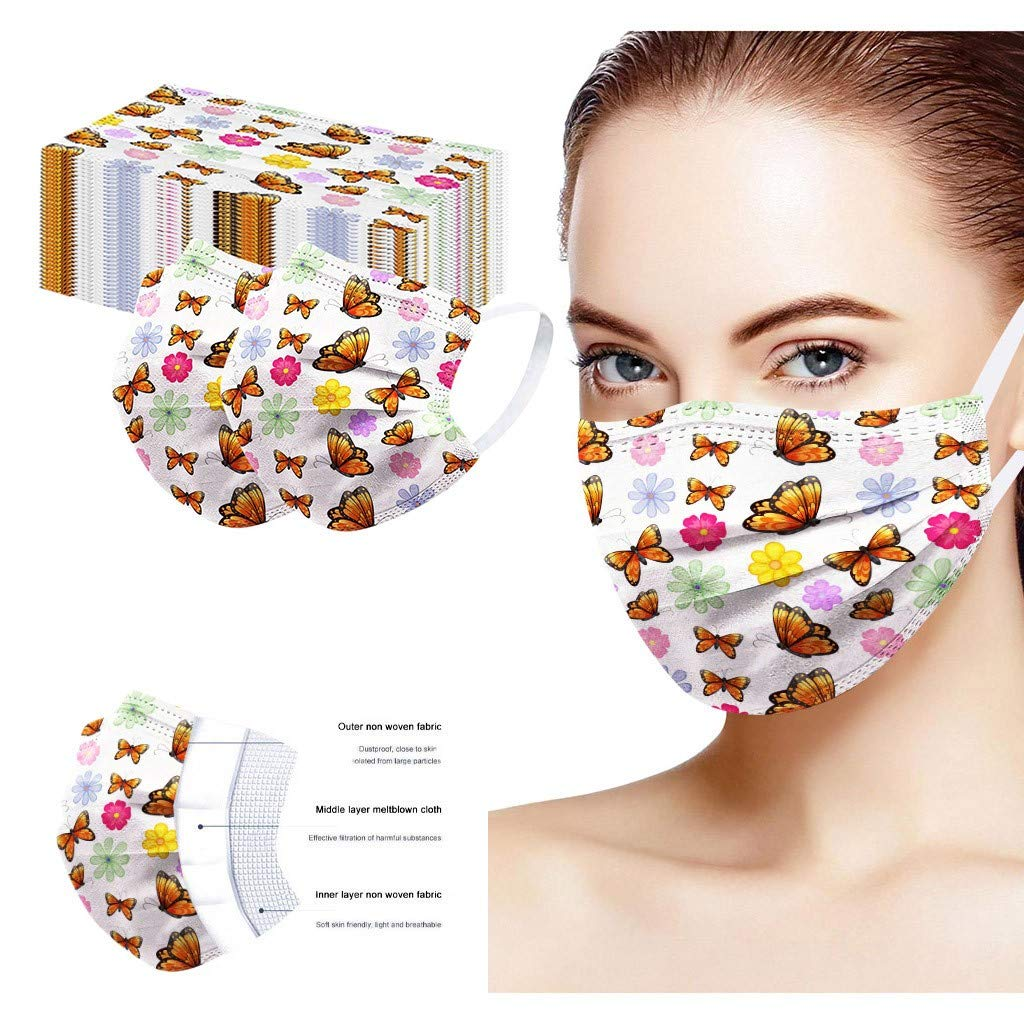OMGYST 10pcs Bandana Women_Face_Mask_Soft 3-Layer Butterfly Print Breathable Cotton Face Protection With Elastic String Earloop For Adults Indoor & Outdoor Use