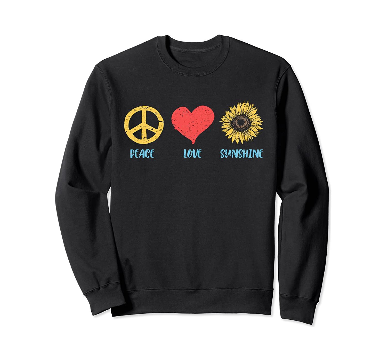 Sunflower Peace Sign Love Sunshine Vintage Hippie 60s 70s Sweatshirt
