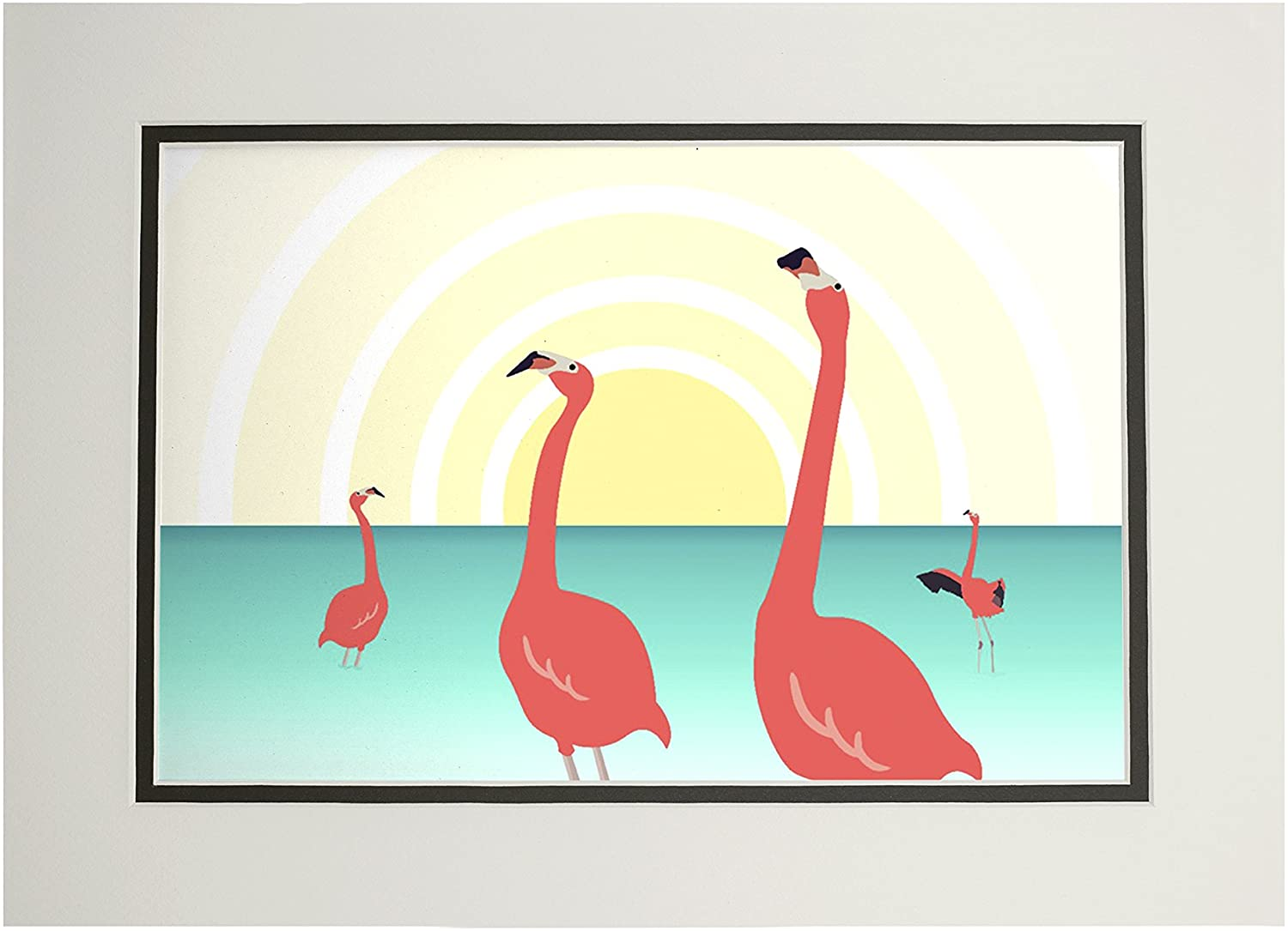 Flamingos - Vector (11x14 Double-Matted Art Print, Wall Decor Ready to Frame)
