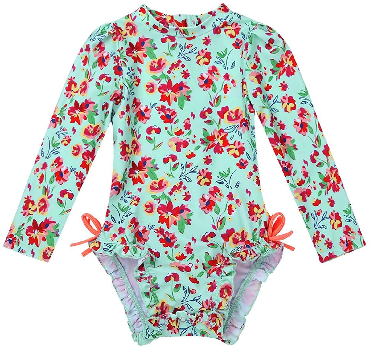 JEATHA Infant Baby Girls Ruffled Long Sleeves Rash Guard Floral Printed Bathing Suit Swimwear with Hidden Zipper Back