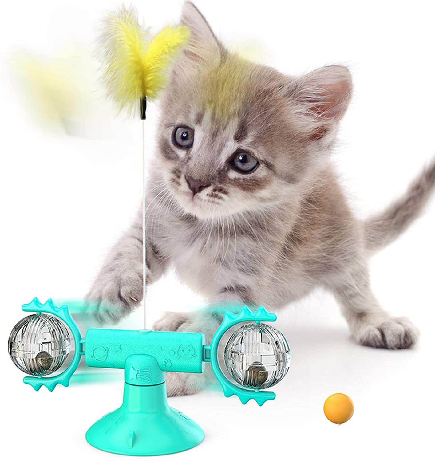 TEELY Interactive Cat Toys for Indoor Cats, Windmill Cat Toy with Suction Cup, Kitten Toys with Catnip, Ball and Feather