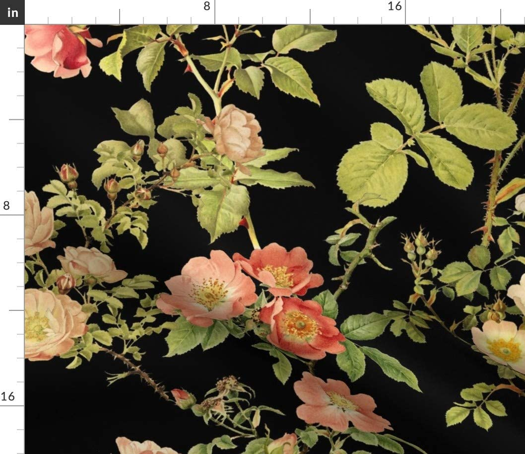 Spoonflower Fabric - English Rose Black Floral Flower Vintage Victorian Dark Printed on Petal Signature Cotton Fabric by The Yard - Sewing Quilting Apparel Crafts Decor