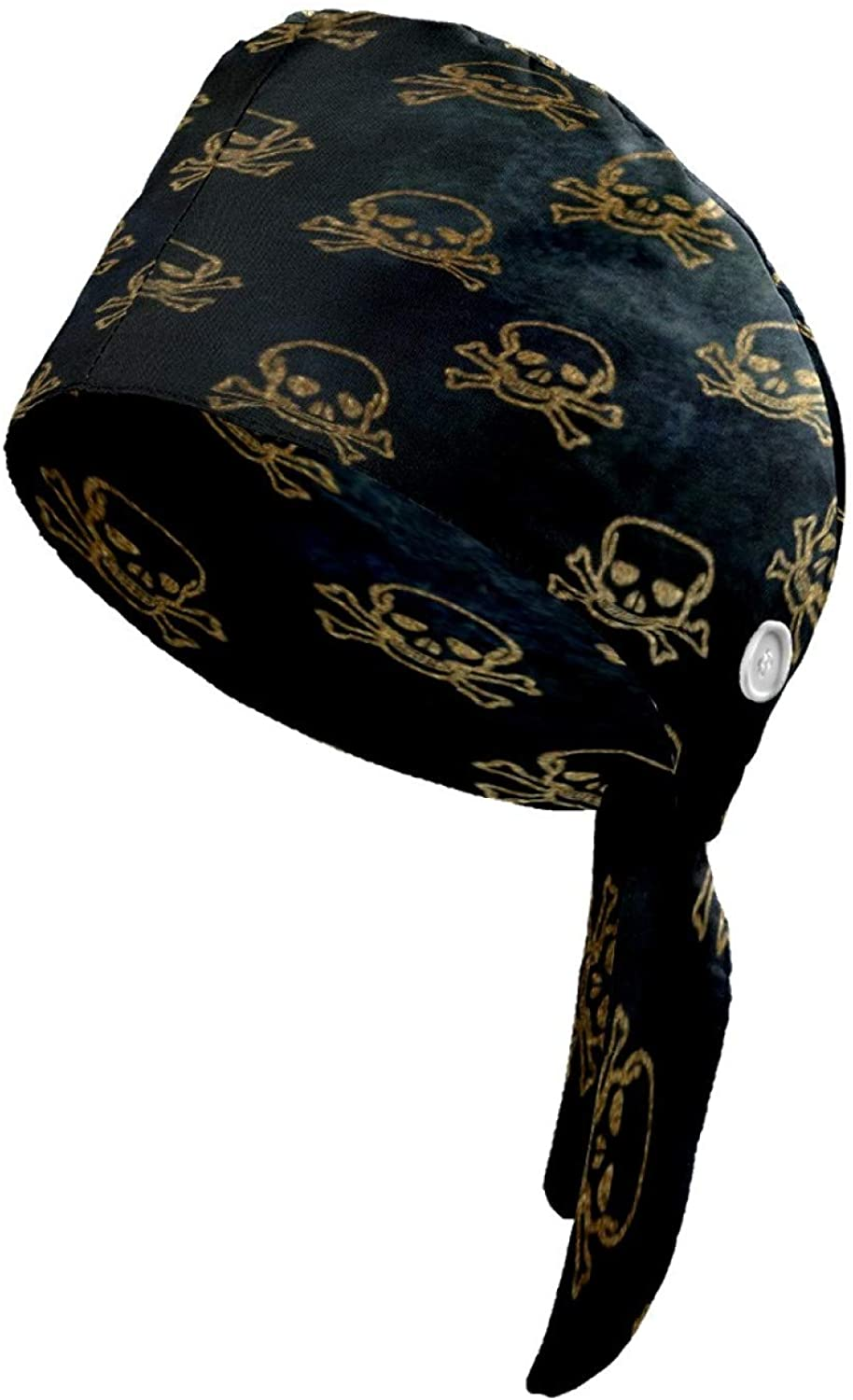 Cute Scarf Hat Women Working Cap Head Scarf for Men Printed Hats with Button for Men and Women Golden Skull Hair Cover with Button Women Hats and Scarves Funny Tie Back Hat
