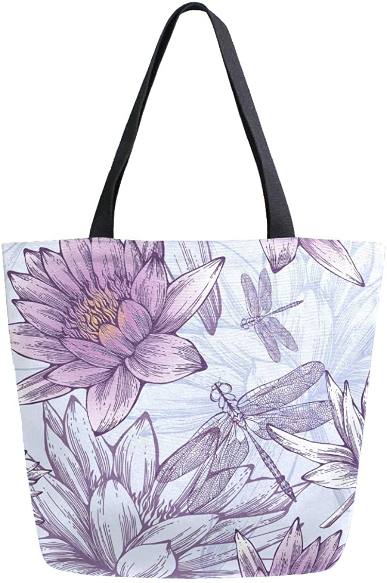 Womens Tote Bag Top Handle Handbags Shoulder Tote Bag Purple Lilies And Dragonflies Tote Washed Canvas Purses Bag