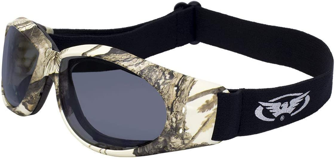 Global Vision Eliminator Pine Camo Safety Padded Riding Goggles Smoke Lenses Adjustable Strap