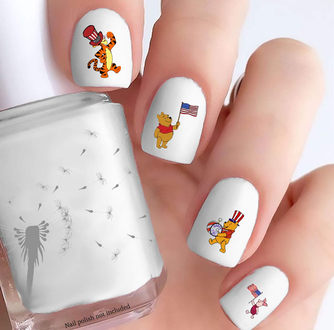 Pooh Holiday (4th of July, Clear Water-Slide Nail Decals)