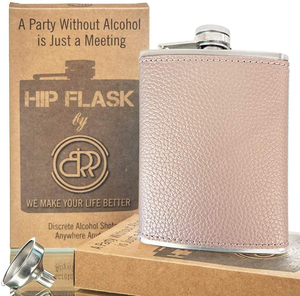 Hip Flask with Funnel, Liquor Flask - 8 Oz (Beige)