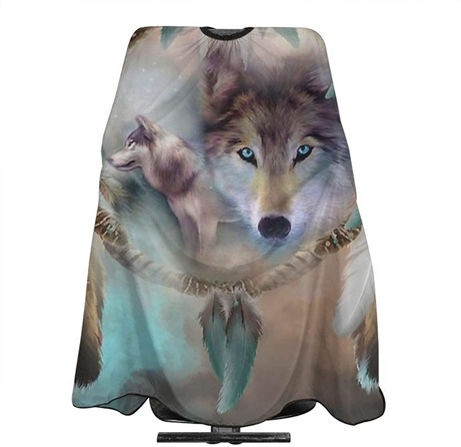 NiYoung Haircut Cape Barber Use Haircut Salon Hairdresser Apron Adjustable Dream Catcher Wolf Dreams of Peace Extra Long Cape for Hair Treatment, Cutting 55 x 66 inches
