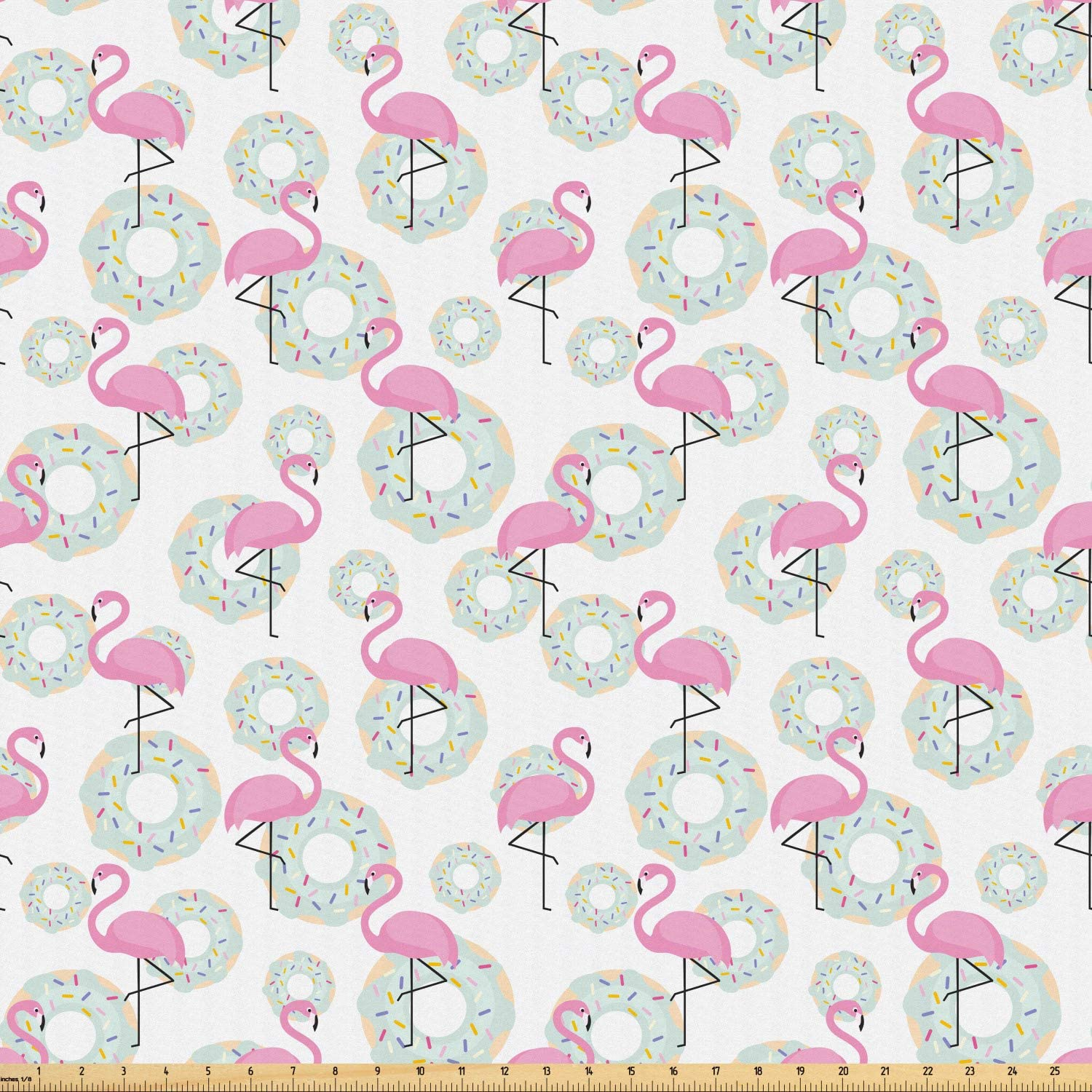 Ambesonne Flamingo Fabric by The Yard, Pink Flamingos and Donuts Tropical Hawaiian Animals Delicious Desserts, Microfiber Fabric for Arts and Crafts Textiles & Decor, 10 Yards, Pink Mint Green Beige