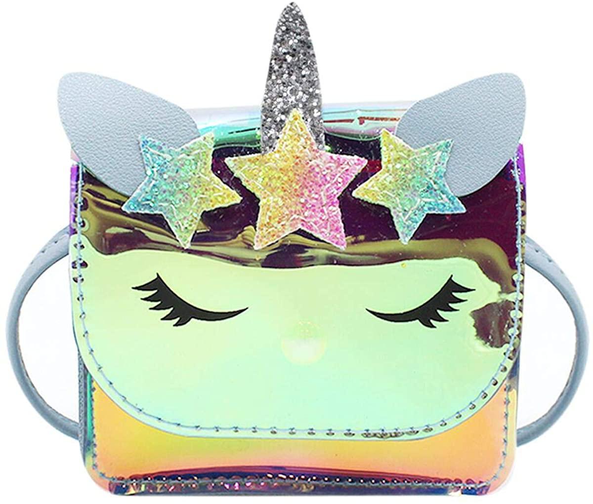 leomoste Cute Unicorn Pattern Crossbody Purse Hologram Clear Shoulder Message Bag Handbag Rainbow Mini Bag