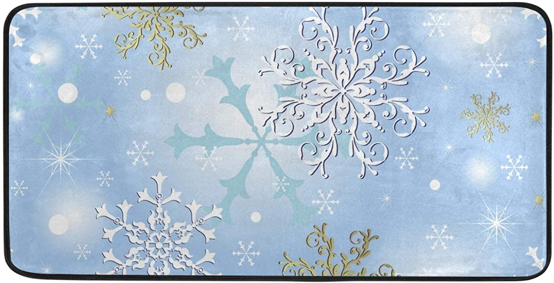 Non-Slip Bathroom Rug Mat Christmas Snowflake Soft Absorbent Bath Mat Kitchen Rug Doormat Carpet for Bathroom Kitchen Indoor Outdoor 39 x 20 Inch