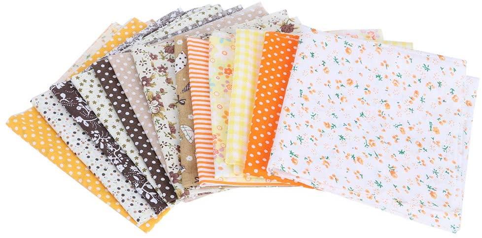 FAMKIT 14Pcs 25x25cm Patchwork Fabric Squares Handcraft Fabrics Floral Pre-Cut Cotton Fabric for DIY Handcraft (Yellow + Brown)