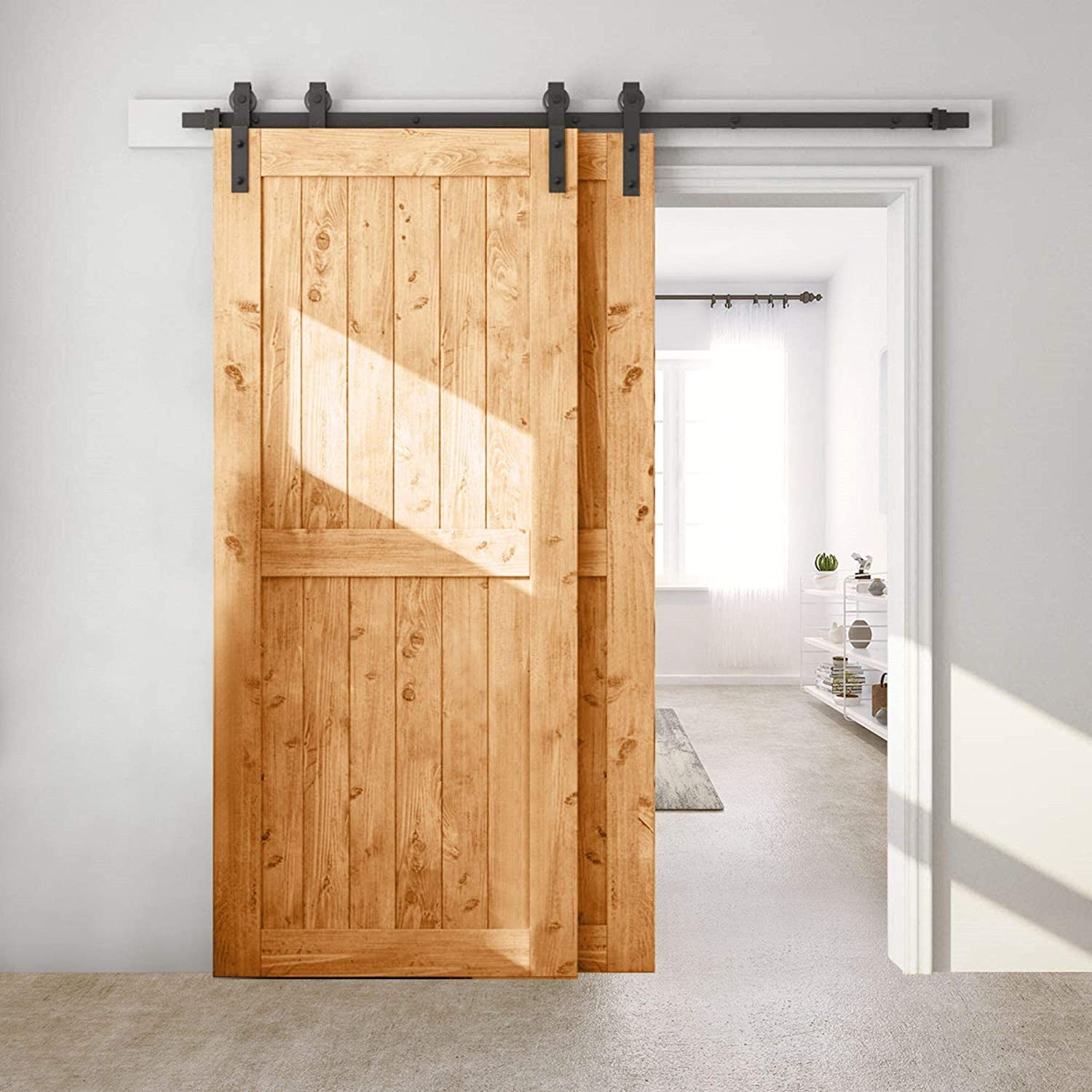 Bronco Hardware Heavy Duty Single Track Bypass Barn Door Hardware Kit 5FT, Perfect for Closet, Easy Installation, Slide Smoothly & Quietly (Hardware Kit Only)