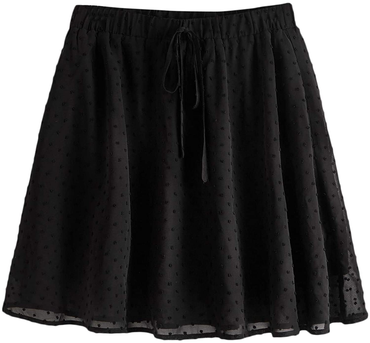 Milumia Women's Casual Zip Back Textured Skater Skirt Solid Black