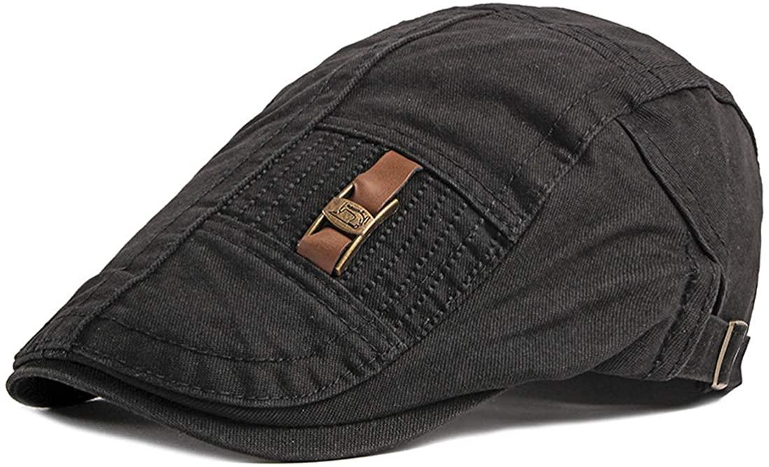 Mens Newsboy Cap Vintage Cotton Flat Cap Ivy Golf Hat