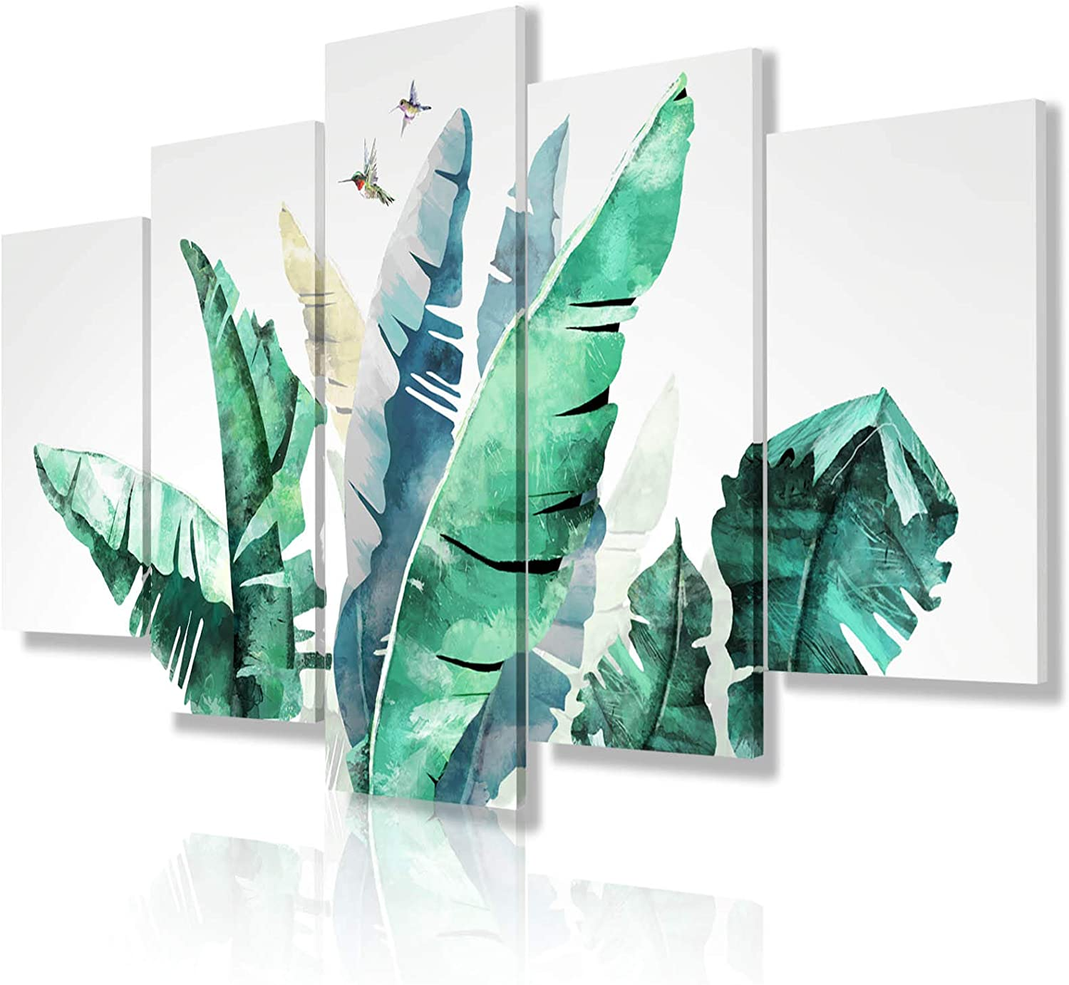 JIMHOMY –Framed 5 Pieces Canvas Print Wall Art, Plant Lucky Tree Artwork, Floral Wall Décor for Bedroom, Office and Hotel Ready to Hang