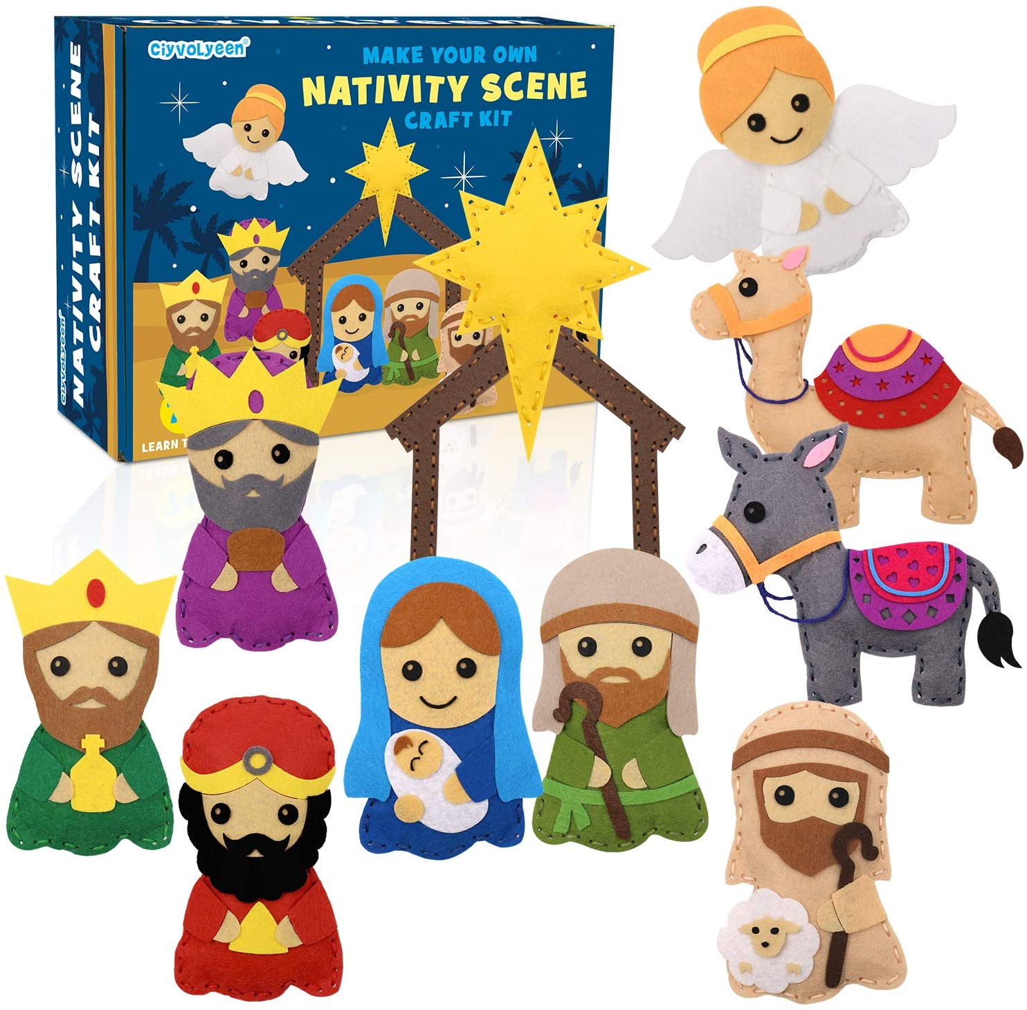CiyvoLyeen Nativity Scene Craft Kit Christmas Ornaments DIY Kids Craft and Sew Kits for Girls and Boys Educational Beginners Sewing Set