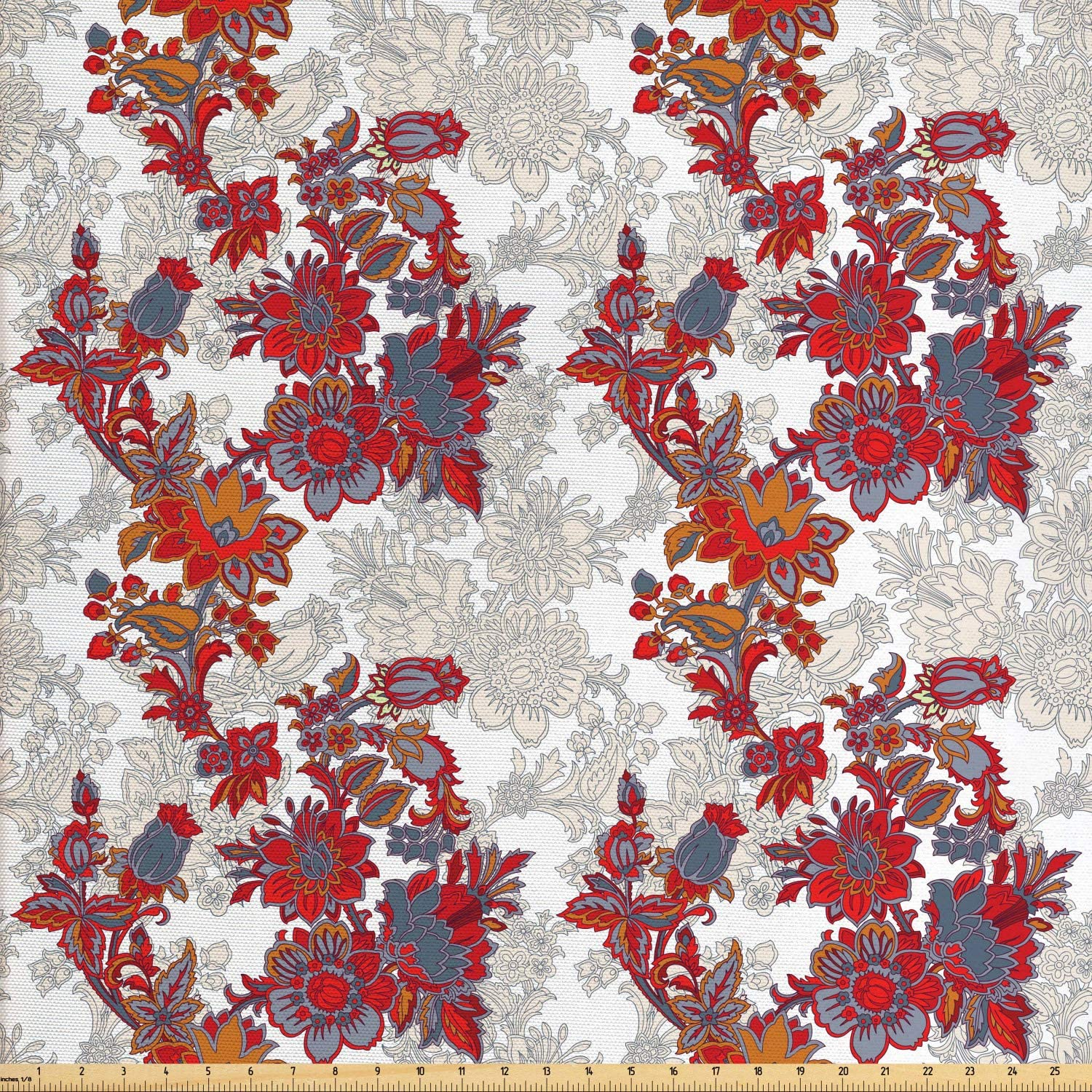 Ambesonne Floral Fabric by The Yard, Romantic Boho Style Narcissus Magic Magnolia Rose Vibrant Pattern Print, Decorative Fabric for Upholstery and Home Accents, 3 Yards, Red Black