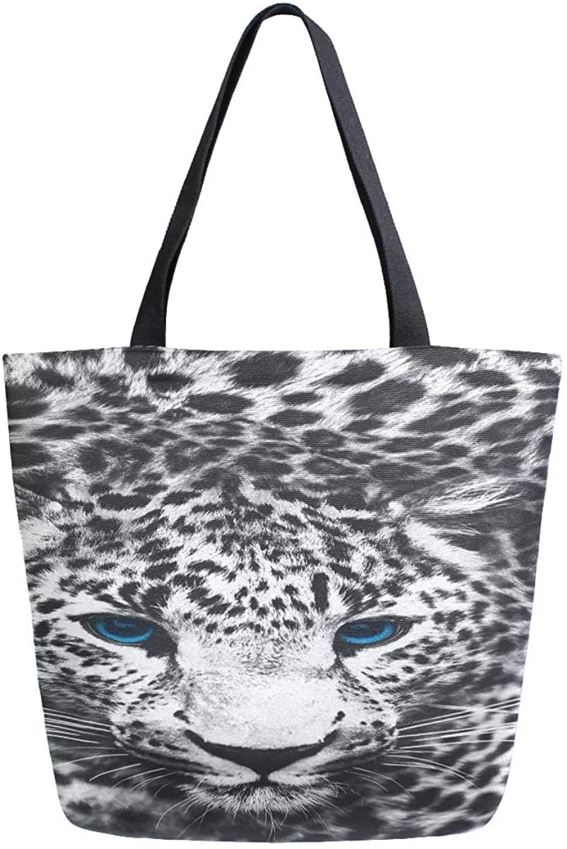 Woman Tote Bag Blue Eyes Cheetah Shoulder Handbag for Work Travel Business Beach Shopping School
