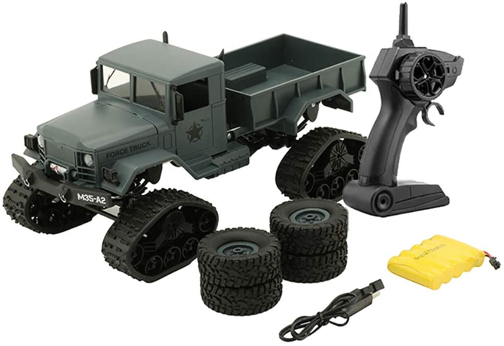 Makkalen Rc Military Truck Army1:16 4Wd Tracked Wheels Crawler Off-Road Car RTR Toy New