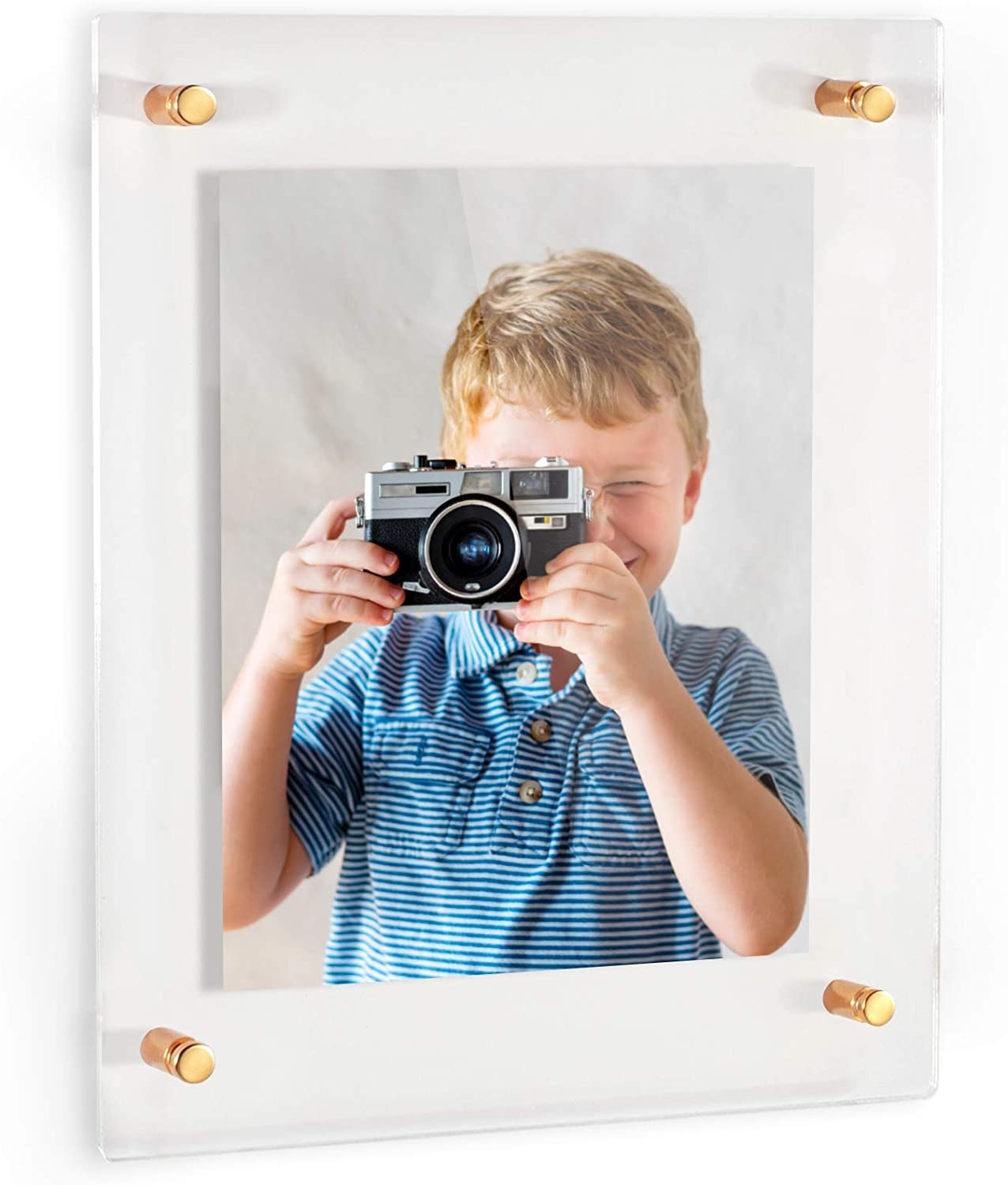 ArtToFrames Floating Acrylic Frame for Pictures Up to 18x24 inches (Full Frame is 22x28) with Gold Standoff Wall Mount Hardware, Acrylic-109-18x24-81