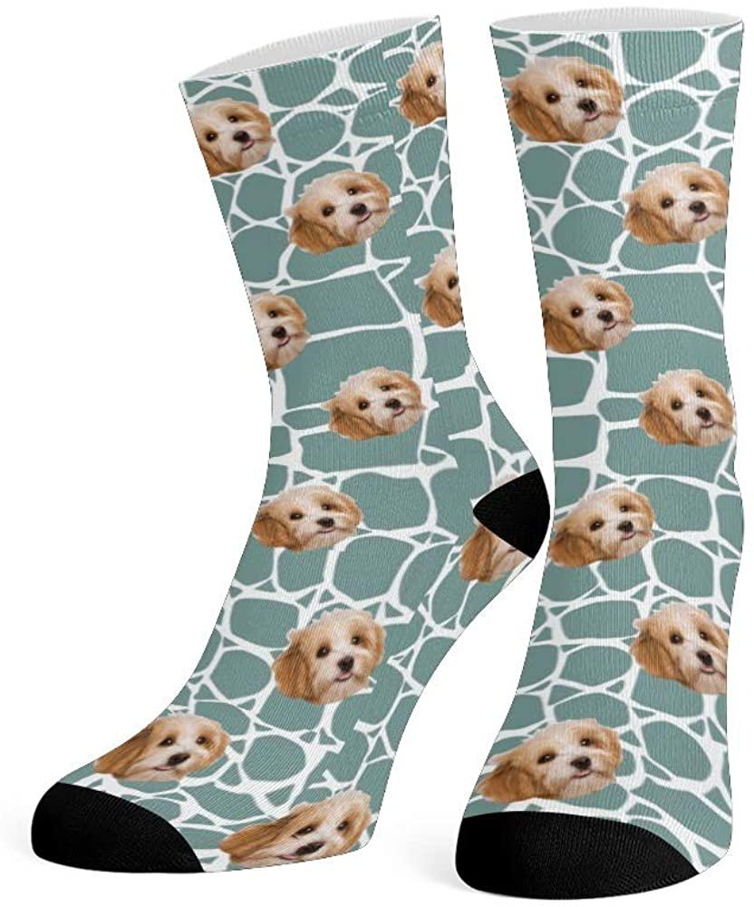 Custom Face Socks with Photo Personalized Print Cute Dog Crew Socks for Men Women