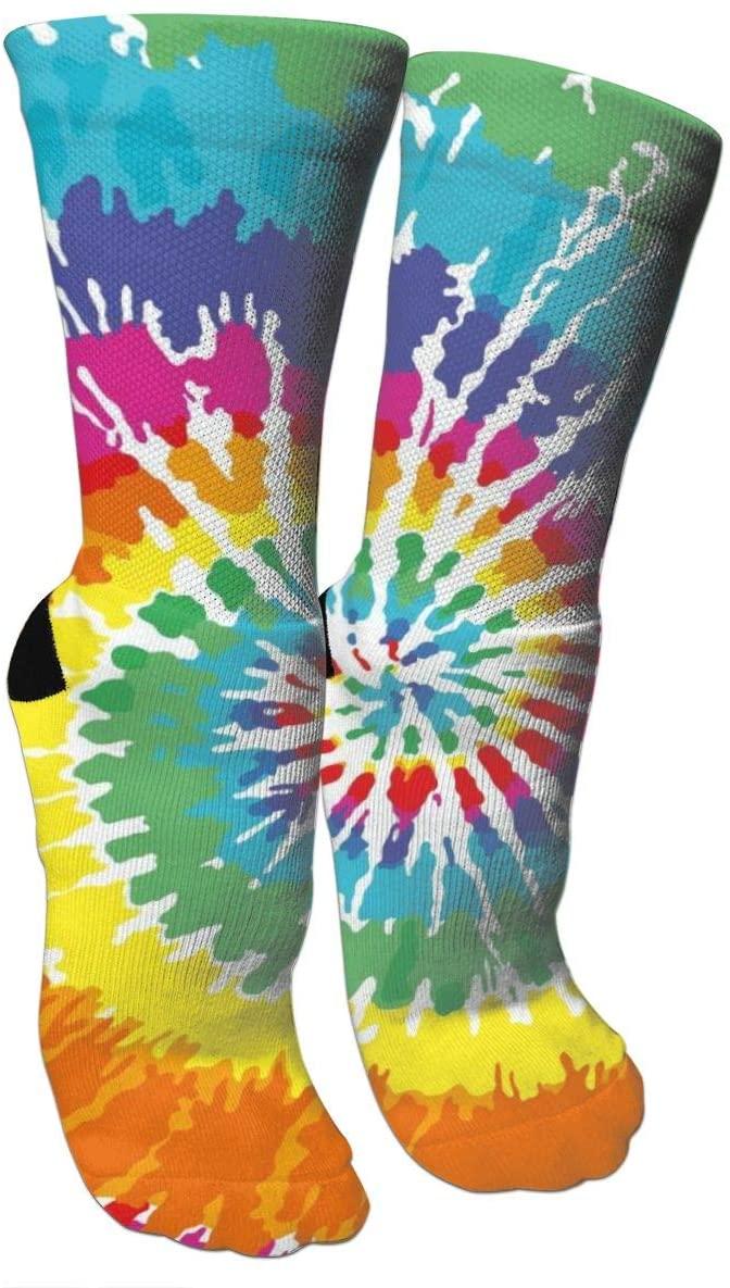 antspuent DIY Tie Dye Rotating Compression Socks Unisex Fun Novelty Crazy Dress Crew Socks