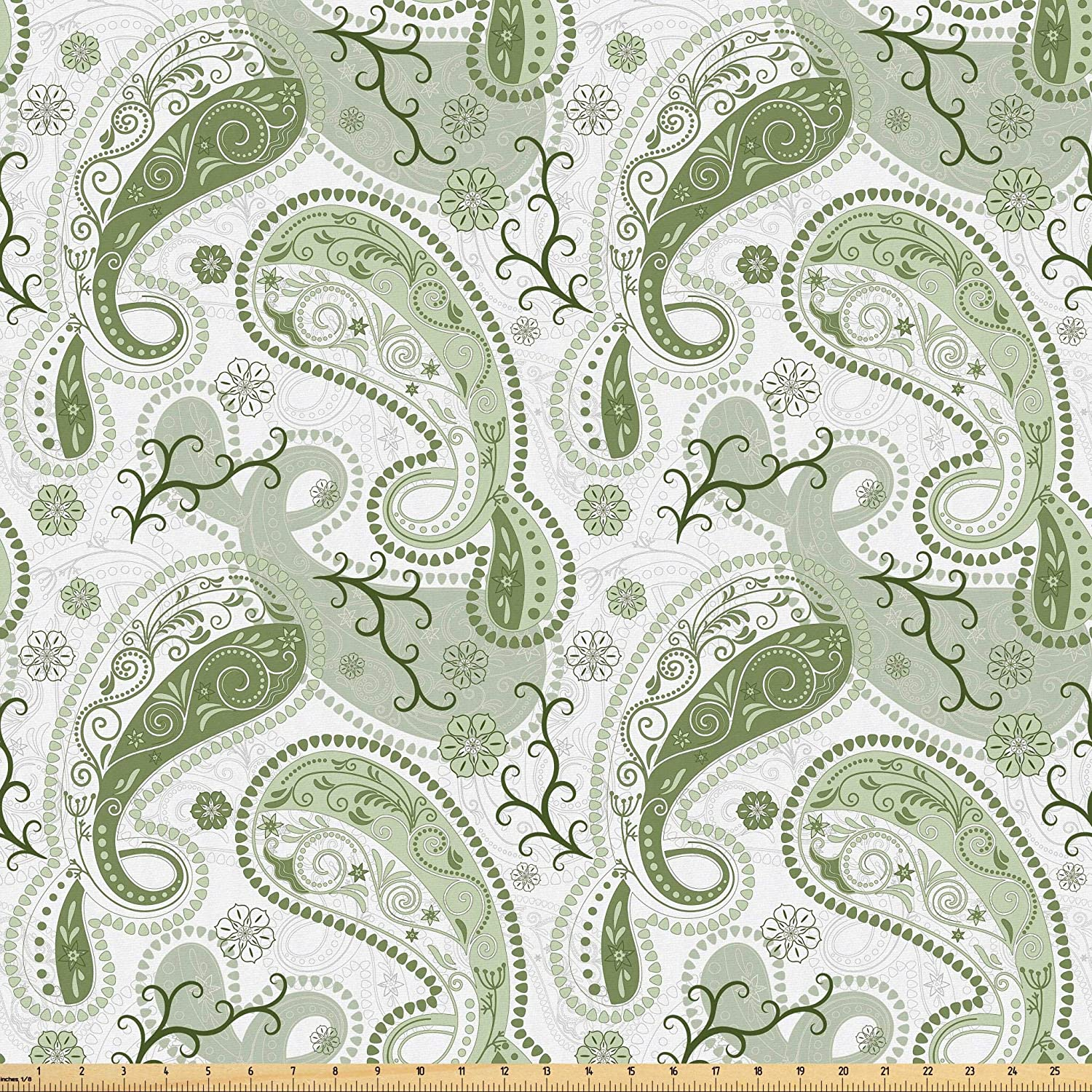 Lunarable Paisley Fabric by The Yard, Pastel Color Scheme with Swirls and Lines Floral Arrangement Lace Pattern, Microfiber Fabric for Arts and Crafts Textiles Decor, 1 Yard, Green White