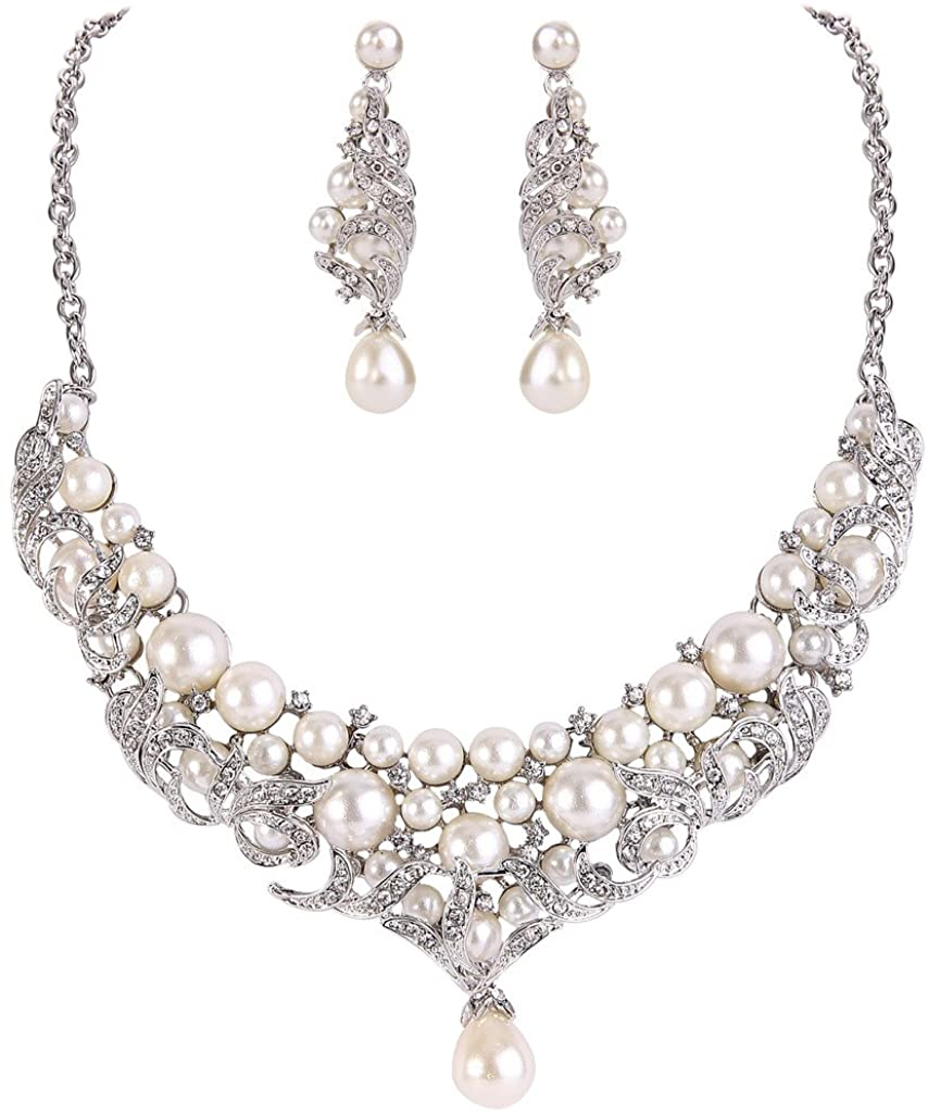 EVER FAITH Ivory Color Cream Simulated Pearl Lots Leaf Necklace Earrings Set Clear Austrian Crystal