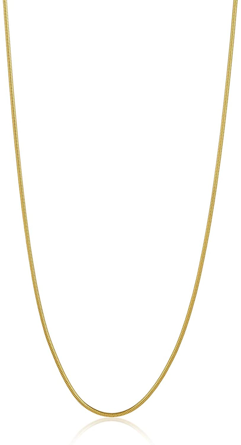 The Bling Factory 1.9mm High-Polished 0.16 mils (4 microns) 24k Yellow Gold Plated Stainless Steel Round Snake Chain Necklace, 16'-30