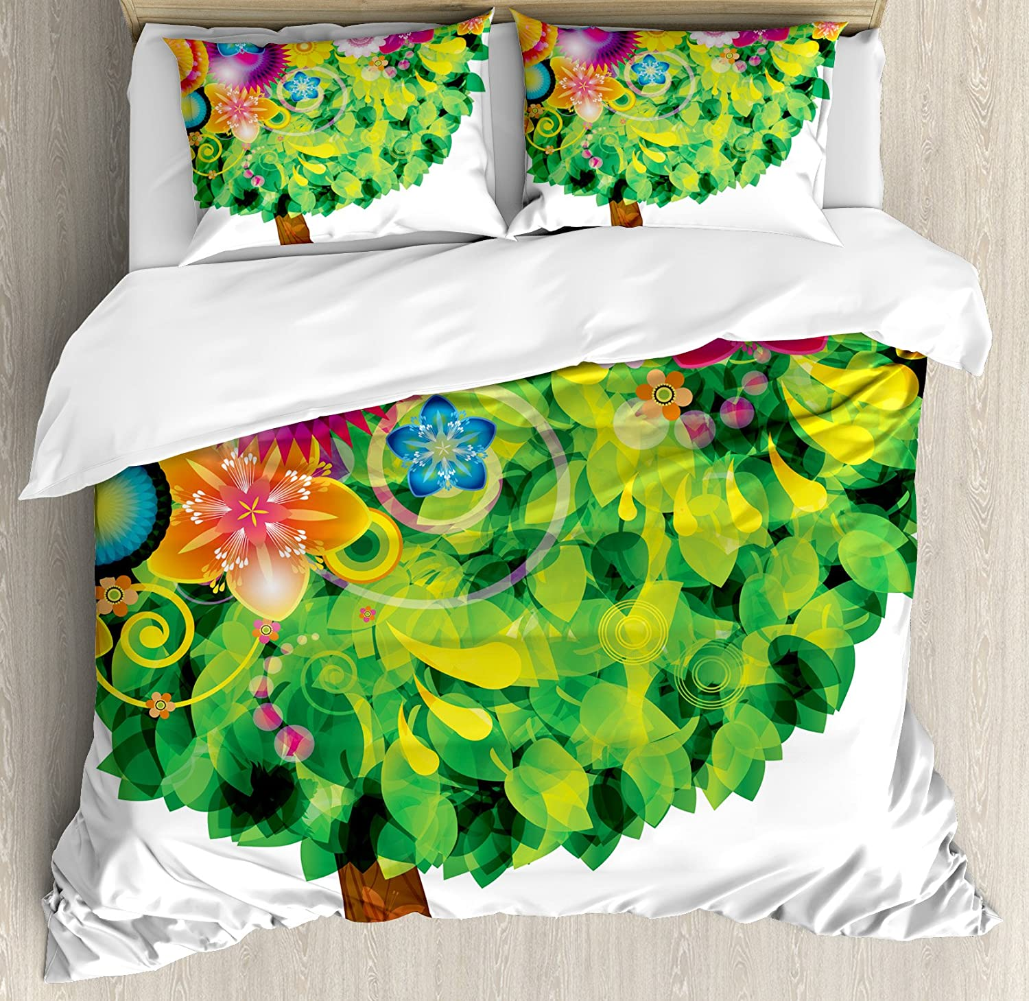 Ambesonne Tree of Life Duvet Cover Set, Colorful Tree Fantasy Illustration with Blossoming Flowers Leaves Butterflies, Decorative 3 Piece Bedding Set with 2 Pillow Shams, King Size, Multicolor
