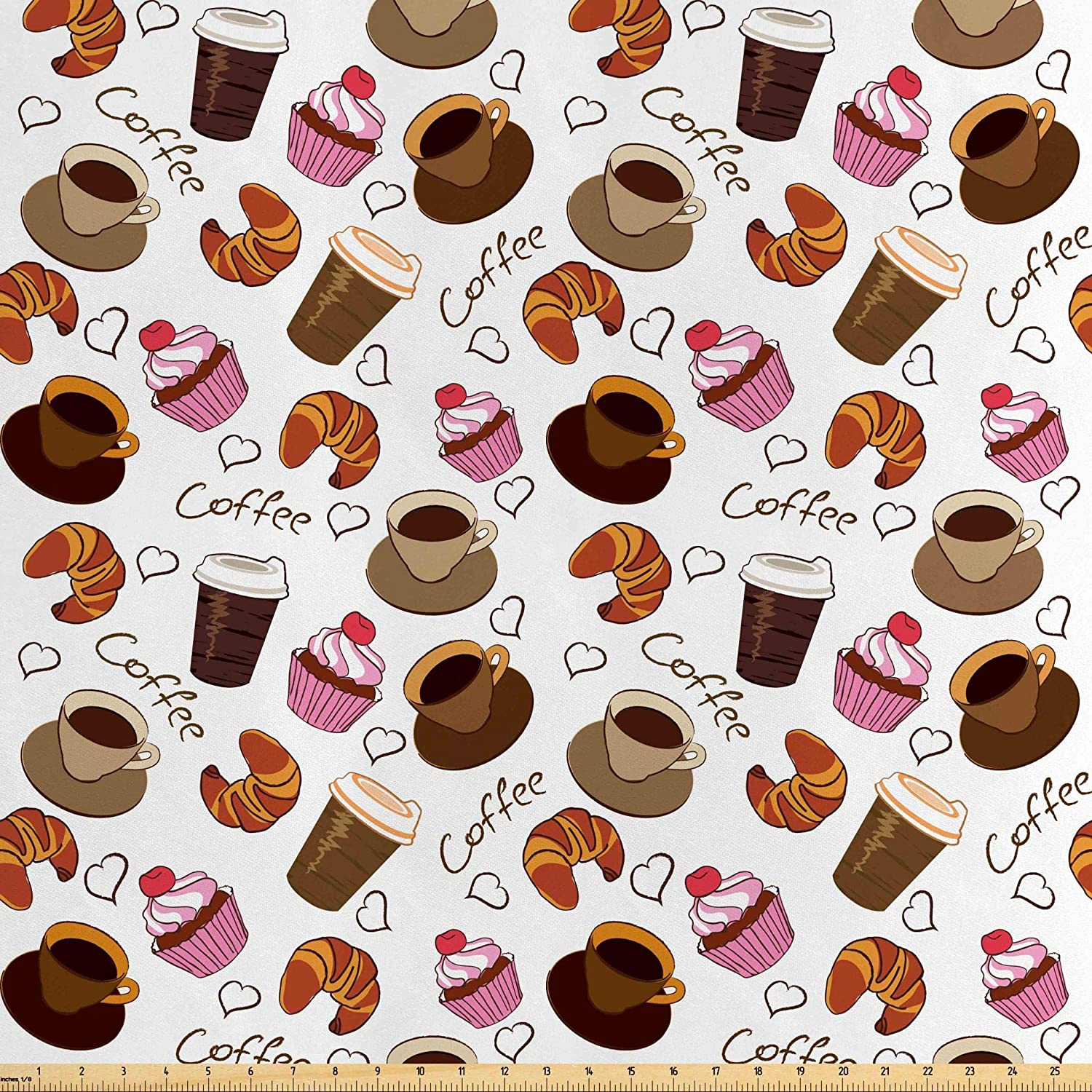 Lunarable Coffee Fabric by The Yard, Coffee Cups Takeaways and Sweets Cherry Cupcake Croissant American Breakfast Culture, Decorative Satin Fabric for Home Textiles and Crafts, 1 Yard, Brown Pink