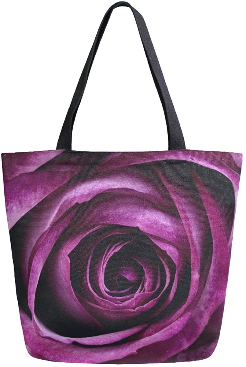 Womens Tote Bag Top Handle Handbags Shoulder Tote Bag Purple Flower Tote Washed Canvas Purses Bag