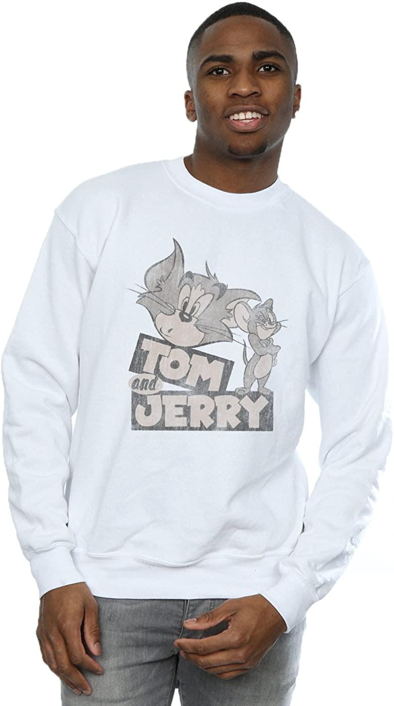 Tom and Jerry Men's Cartoon Wink Sweatshirt White Large