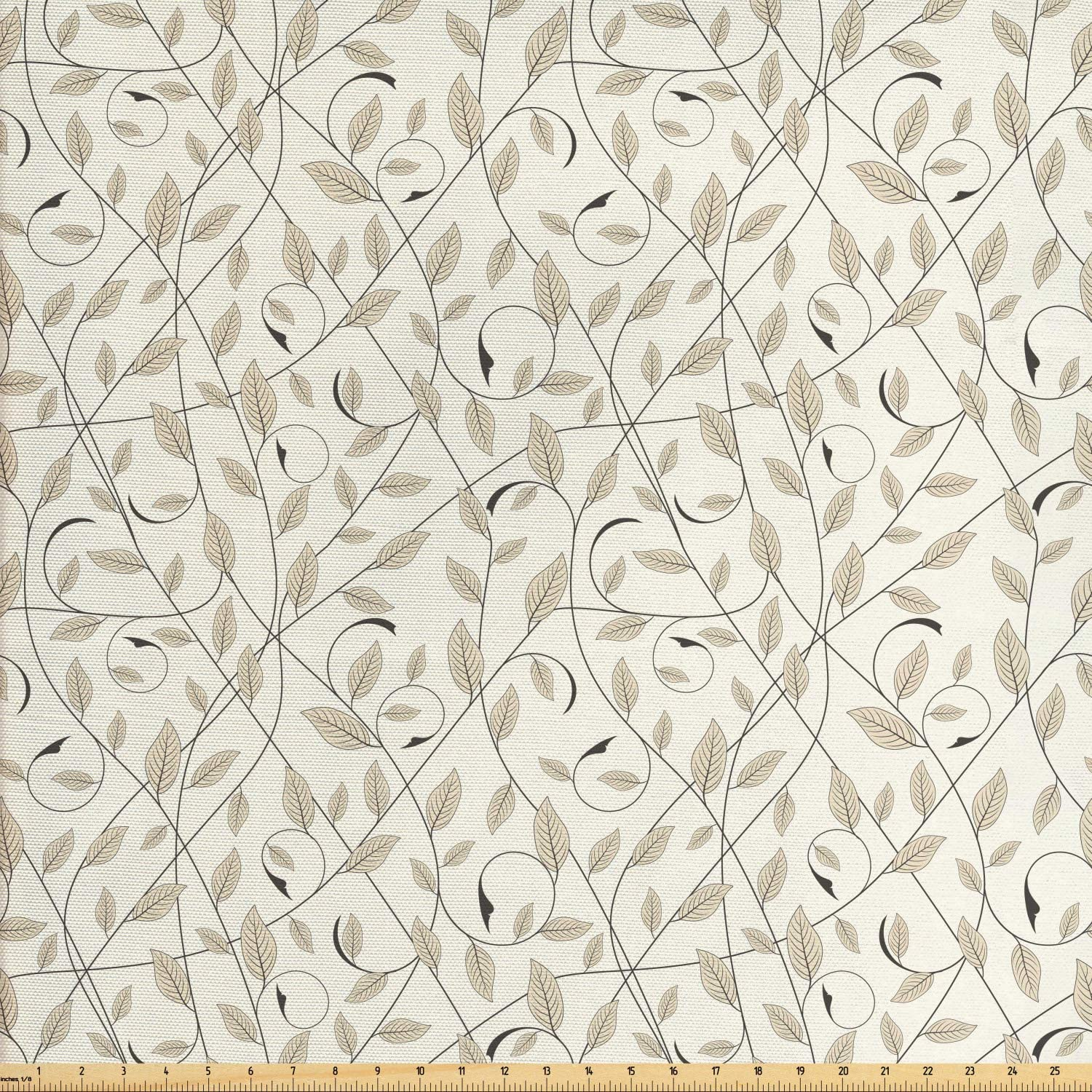 Ambesonne Floral Fabric by The Yard, Illustration of Curling Branches with Striped Leaves Botanical Ornaments, Decorative Fabric for Upholstery and Home Accents, 1 Yard, Eggshell Pale Sepia