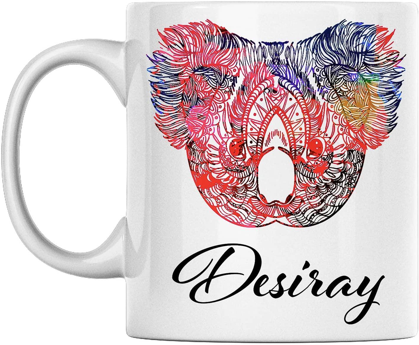 Personal Koala Mug Name Desiray White Ceramic 11 Oz Coffee Mug Printed on Both Sides Perfect for Birthday For Him, Her, Boy, Girl, Husband, Wife, Men, and Women