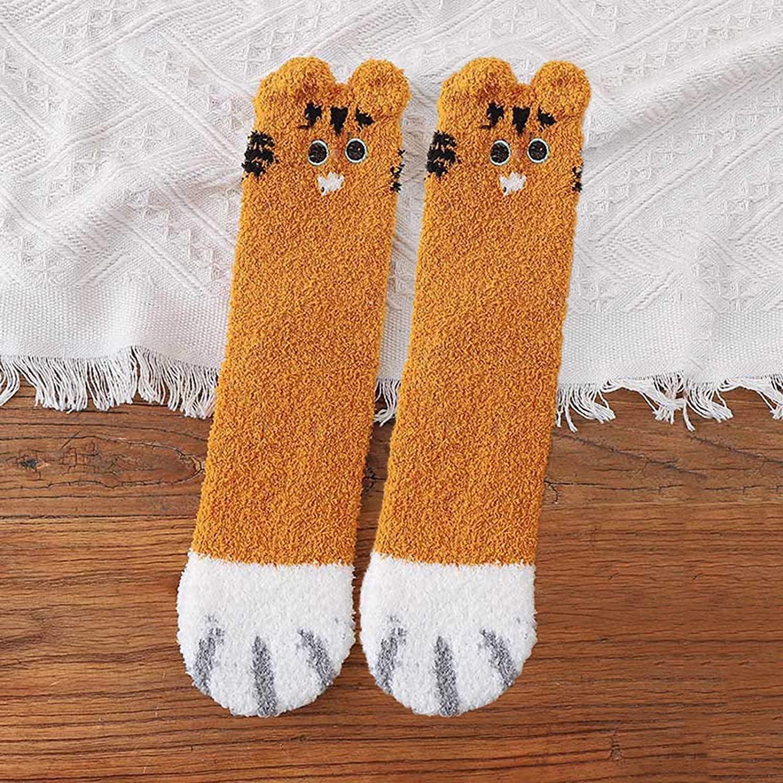 Cat Paw Fuzzy Sleep Slipper Socks With Grippers for Women Teen Girls Plush Warm Lightweight Winter Cute Gift