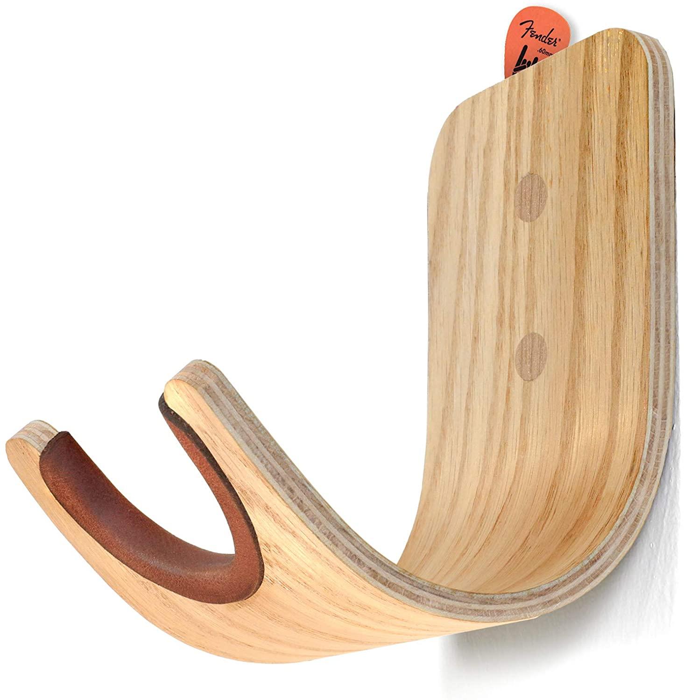 [UPGRADED] Plywood Guitar Wall Mount Holder with pick slot on top, Modern and unique Design Guitar Hanger for Bass Acoustic Electric Guitars Ukulele Folk Violin Mandolin Banjo skateboard Stand (Oak)