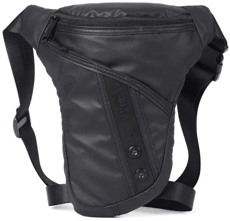 QINREN Men Motorcycle Rider Drop Leg Bag Portable Military Belt Waist Fanny Pack,Black,Oxford Cloth