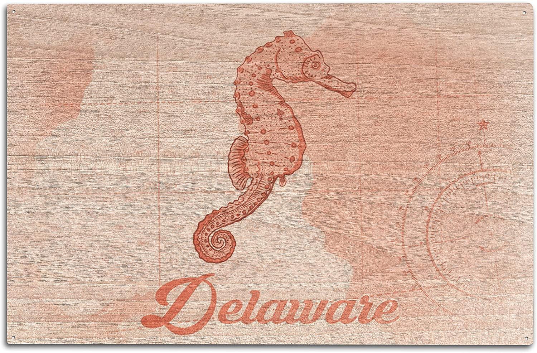 Lantern Press Delaware - Seahorse - Coral - Coastal Icon (10x15 Wood Wall Sign, Wall Decor Ready to Hang)