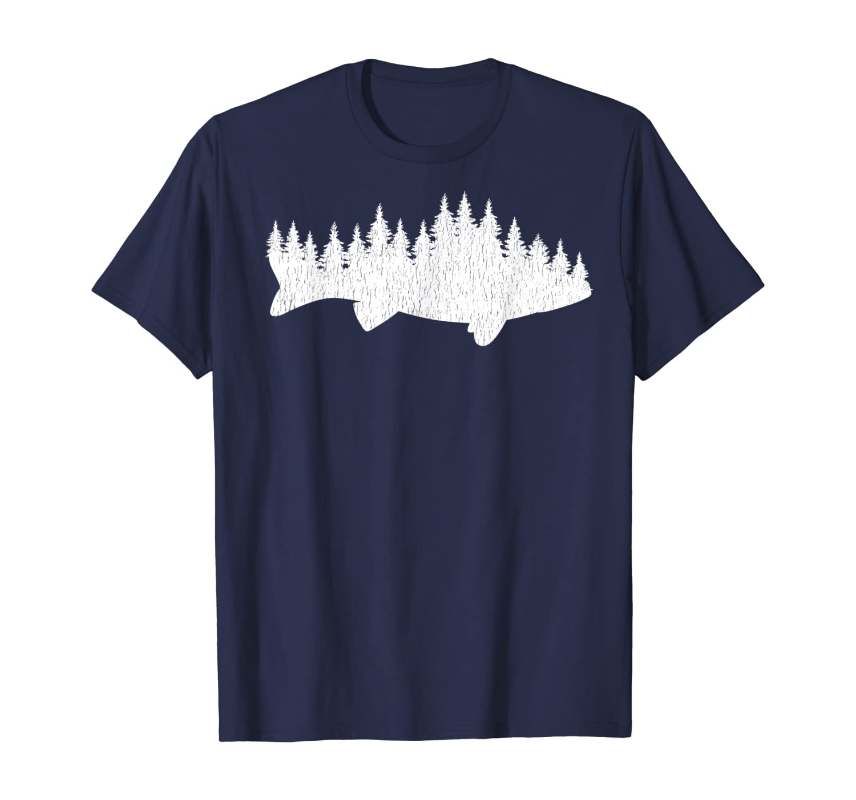 Walleye Fishing Shirt Walleye Fisherman Pine Forest T-Shirt