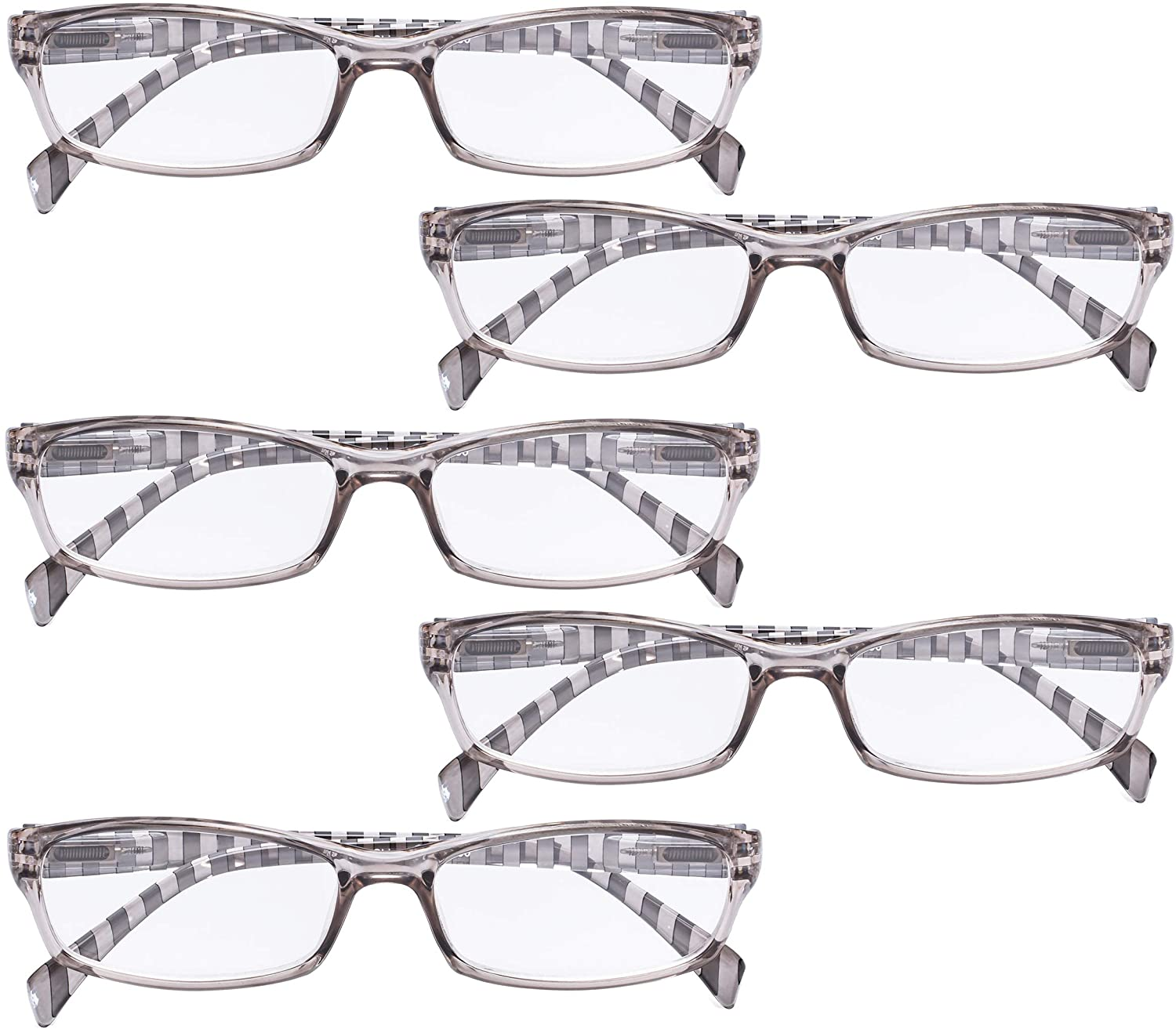 BFOCO 5 Pairs Reading Glasses with Stripe Temples Reader Eyeglasses for Women Reading