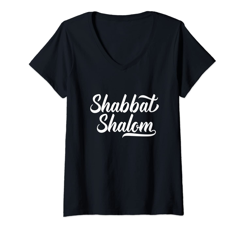 Womens Shabbat Shalom Funny Sabbath Jewish Resting Day Torah Gift V-Neck T-Shirt