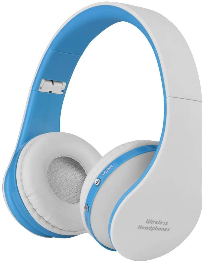 sjlerst Built-in Microphone Headphone, Headset, Earphone, USB Charging Bluetooth 4.0 for Teens Adults for Phones for Laptop(Blue and White)