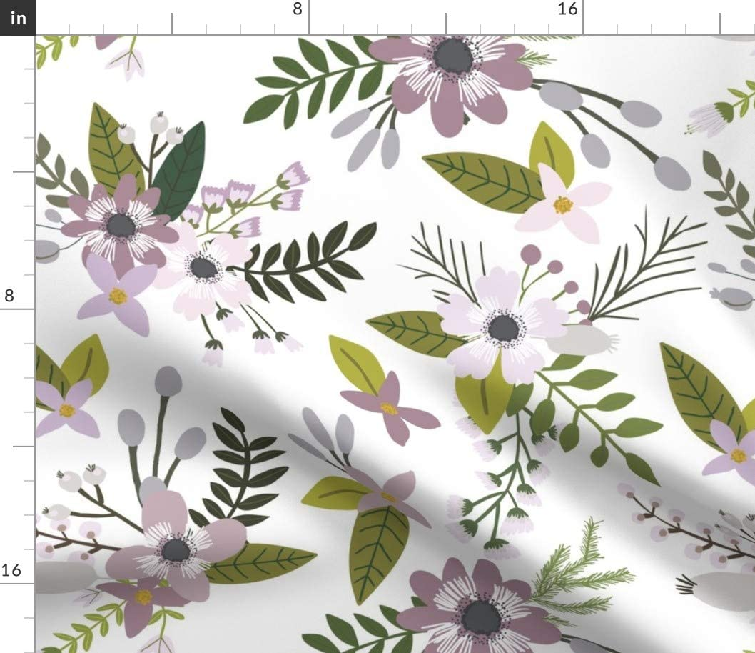 Spoonflower Fabric - Lavender Sprigs Blooms Floral Flowers Purple Printed on Petal Signature Cotton Fabric by The Yard - Sewing Quilting Apparel Crafts Decor